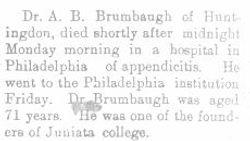 Brumbaugh, A. B. 1908