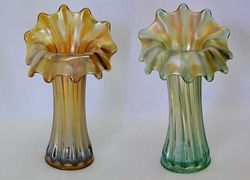 "Corinth JIP 9 1/2""vases in amber and green, by Westmoreland"