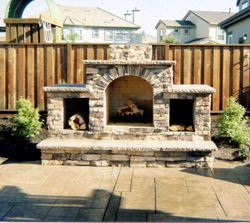 outdoor woodburning  fireplace with gas ignition