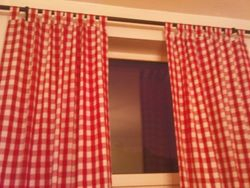 Red & White Tab-Top Gingham Curtains
