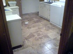 Tile floor in laundry room