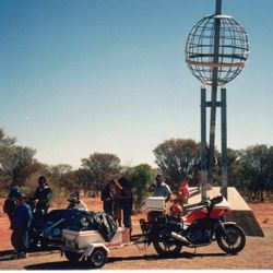 Tom's XJ900 at the Tropic of Capricorn Monument just north of Alice Springs NT on the way to 1994 AGM at Alice Springs - April 1994