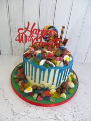 40th Birthday Haribo and chocolate Drip cake