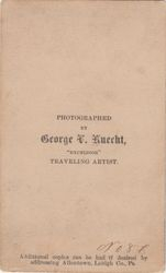 George V. Knecht, photographer of Allentown, PA - back