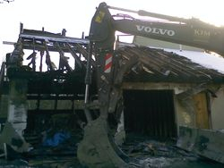 Post house fire demolition