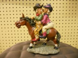 Rick Rowley Art Cowboy/Girl Wood Carving