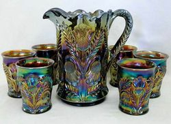 Inverted Thistle water set, amethyst, Cambridge Glass USA,