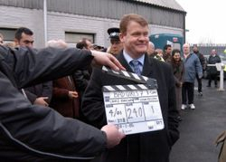 Filming my role as a Tv  reporter in a UK drama series