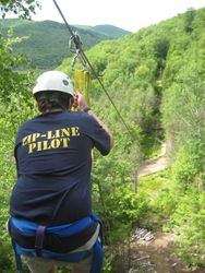 View down the zip line