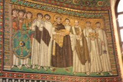 Emperor Justinianus I panel  in Basilica San Vitale in Ravenna