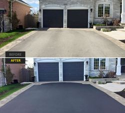 Asphalt Sealing Before and After Driveway