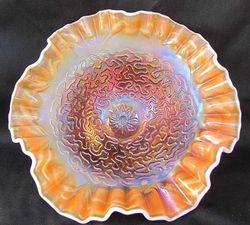 "Soutache 8 3/4""dome ftd crimped ruffled bowl, peach opal"