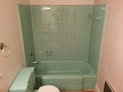 Robin Egg Blue Tub & Tile Before