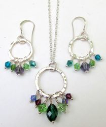 Pendant & Earrings with Swarovski Crystals