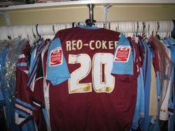 West Ham Captain Nigel Reo-Cokers Match Worn Play Off Final Shirt Worn on 30th May 2005 vs Preston NE, at the Millenium Stadium Cardiff