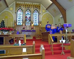 A wider view of choir and sanctuary