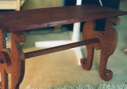 Bubinga and lacewood bench