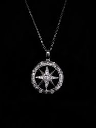 Compass rose with diamonds