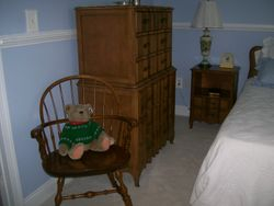 BEDROOM SET CHEST ON CHEST, COUNTRY COLONIAL CHAIR, STUFFED BEAR