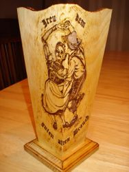Bavarian Dance Couple Wooden Vase
