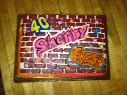 80s Theme Graffiti Cake