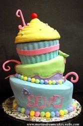 Giant cupcake themed Whimsical Cake