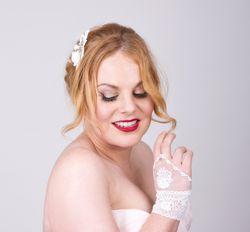 Cluny lace bridal cuffs