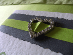 Lime Diamante Heart Order of Service Close up