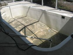 Drained pool before repairs started
