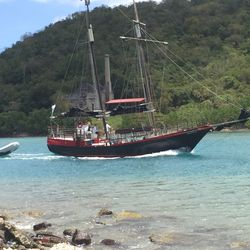 Pirate Ship passing through the channel