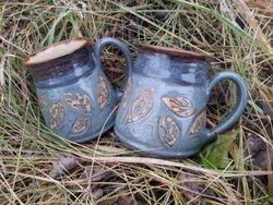 Leaf Carved Mugs