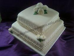 Ivory Wedding Cake with Sugar Roses