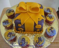 CAKE 33A1 -Gift Box Cake & Cupcakes