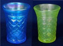 Concave Diamonds tumblers, celeste blue and vaseline