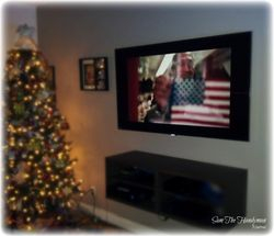 "Wall mounted 60"" Flat screen TV on a swiveling arm"