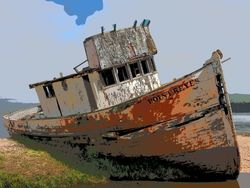 Beached boat, Inverness, Marin County