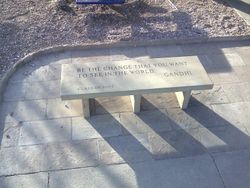 Bench was engraved by Dave Horn of Longmont.  Bullnosed and installed with patio and curb by yours truly.