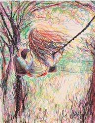 Tegning - girl on swing