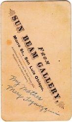 Holmes, Sun Beam Gallery, San Luis Obispo, California - back