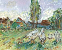 Interpretation of Geese by Alfred Sisley