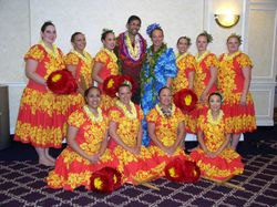 Kumu Manu with Halau Ho'ola Ka Mana O Hawai'i at E Hula Mau Hula and Chant Competition 2004