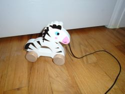 Wooden Pull Along Zebra Toy by Ray's Toys - $5