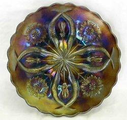 "Four Flowers Variant 9"" PLATE, purple, Brockwitz"