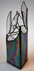 Iridised triangular vase