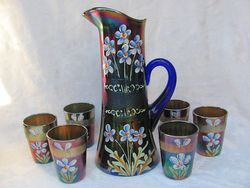 (Enameled) Forget-me-not with prism band tankard water set, blue, Fenton