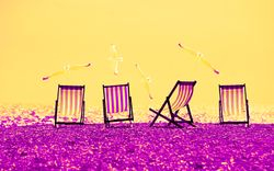 Beach Chairs - Yellow & Purple