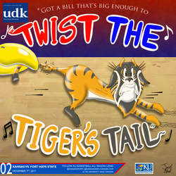 University Daily Kansan Basketball Gameday Poster - Fort Hays State 2017