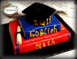Red and Blue Graduation Book Cake