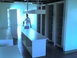 Finishing Area/Manual Ironing Board, Storage Shelves