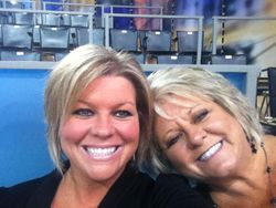 Mom and I on the set of Anderson Cooper